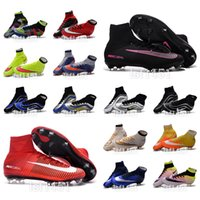 Wholesale New oriGINal mens high ankle football boots FG HERITAGE What the MercURial CR7 SupERfly soccer shoes SupERfly VI V IV soccer cleats