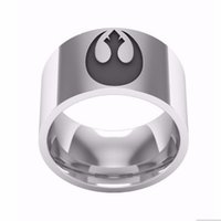 Wholesale Stainless Steel Jewelry Engraved - Classic Movies STAR WARS Style Jewelry Ring RING LOGO ENGRAVED In Stainless Steel Ring for women men gift wholesale