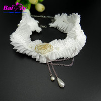 asian style wedding dresses - 2016 new Lace Necklace with Pearl for Bridal Wedding Party Jewelry handmade flower vintage style tassel choker for dress
