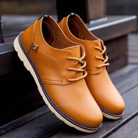 awesome casual shoes - New Arrival Awesome Mens Casual Leather shoes for Men Dress Shoes Flats Shoes Pure Color Hot Sale Good Price