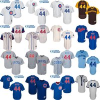 mitchell and ness - Blue White grey cream Throwback Anthony Rizzo baseball Jersey Men s Mitchell And Ness Chicago Cubs Turn Back The Clock stitched s xl