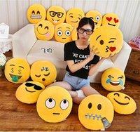 Wholesale Emoji Emoticon Yellow Stuffed Cushion Pillow Round Plush Soft Toy Doll