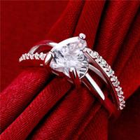 Wholesale Women s love Full Diamond fashion heart silver Ring STPR024B brand new white gemstone sterling silver wedding finger rings