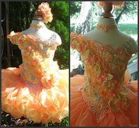 beautiful modest wedding dresses - Flower Girl Dress Orange Beautiful Good Sell Fanshion Design Modest Style Hand Made Flowers Beadings High Quality Short Mini Piping Cheap