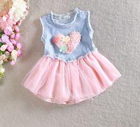 2016 vestidos de verano de las niñas Sweet Heart Chaleco Jean Mock de dos piezas de los pantalones vaqueros de algodón plisado Activo 2-en-1 Faldas para Bebés y Niños 815 1-4Y