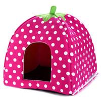 basket with lid - 2016 On Sale Pet Dog Cat Rabbit Bed Winter Warm Soft Plush Sponge StrawberryPet House Kennel Doggy Cushion Basket Colors S L