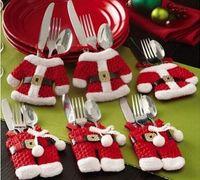 Санта костюмы Цены-Новогодние украшения 6Pcs / Set Счастливый Санта-Клаус посуда Столовое серебро костюм Рождественский ужин партии Декор Новогодние украшения
