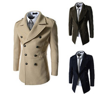 army pea coat - Double Breasted Mens Wool Winter Trench Coat Plus Size Long Pea Overcoat Long Sleeve Laple Neck Wild Classic Business Trench For Men J160913