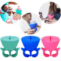 Wholesale silicone nail holder Wearable Nail Polish Bottle Holder Rack Ring Fit All Fingers Nail Art Tips Polish Display Holder Stand Manicure Tool