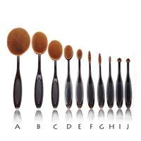 10pcs=1 set beauty face creams - 10PCS Beauty Oval Cream Puff Toothbrush Brushes Set Foundation Powder Soft Face Professional Makeup Tools Brush Set