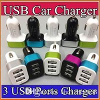 Wholesale 100X For iPhone s Plus Car Charger Traver Adapter Car Plug Hot Selling Triple USB Ports Car Charger DHL Without Package O SC