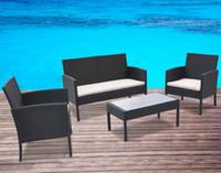 beige sofa set - outdoor rattan Wicker Sofa Furniture Set Outdoor Garden Patio Rattan Wicke Furniture Sets New Beige Cushioned Seat Black Wicker