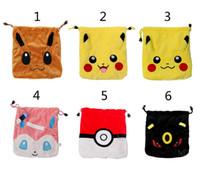 b backpack - Poke go Pikachu drawstring bags style children Cartoon Pikachu Jeni turtle Sylveon Poke Ball cotton gift bag B