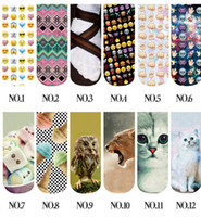 big animal slippers - 588design D Socks Emoji Animal Food short socks Ankle Socks big Girls Socks summer Autumn Winter Socks Low Cut Socks KKA843
