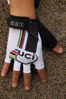 bicycle world - UCI World Champion White Cycling Bike Gloves Bicycle Gel Half Finger Glove