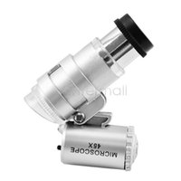 Wholesale Silver X Mini Pocket Magnifier Microscope Loupe LED Currency UV Detector Dropshipping