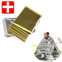 Wholesale Camping Portable Emergency Blanket First Aid Survival Rescue Curtain Tent Tools Outdoor Hiking Kits Silver Golden cm g