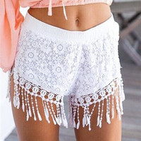 Wholesale Hug Me Women New Lace Shorts Casual Tassels Women s Fashion New Summer Fashion Flag hole worn Shorts BB
