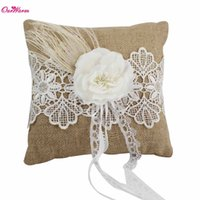 Wholesale Natural Jute Burlap Hessian Ribbon Lace Wedding Ring Pillow cm x cm with Rhinestones Wedding Decoration Supplies