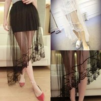 Wholesale 2016 Summer New Solid Color Lace Perspective Gauze Irregular Oblique Swing Skirts Double Skirt Dress B