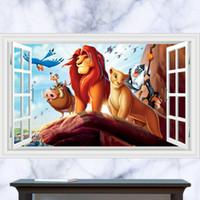 bathroom king - 3D Window Generic The Lion King Animals Mufasa mountain Decal Wall Sticker Decor kindergarten living room vinyl Inspiration art