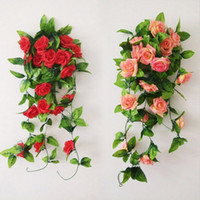 Wholesale Silk Rose Artificial Flowers Green Leaf Vine Garland for Wedding Party Home Decorations Red Pink Champagne Wall Garlands Decorative