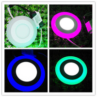 Wholesale 3w w Double Colors Recessed round led panel Lights two colors changing led down lights decoration ceiling light