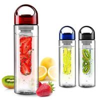 Wholesale 700ml Fruit Juice Cup Infuser My Sport Drinking Detox Water Bottles Flip Lid TRITAN BPA Free Health Lemon Bicycle Bottle colors