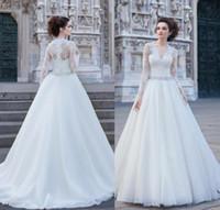 beads catalog - 2016 Catalog Wedding Dresses Long Sleeves V Neck Vintage Beads Wedding Gowns Lace Applique Crystal Sash Plus Size Bridal Dress