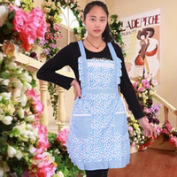Wholesale hot sale ladies kitchen cooking apron double shoulder strap type apron polyester material waist length many colors option pc