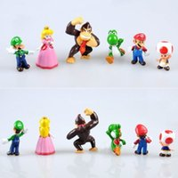 Wholesale 6 Set Super Mario Bros Yoshi Luigi Toad Action Figures Toy lgf