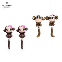 Trendyou Bijoux faits à la main Polymer Clay Ear Studs Femmes Aimés 2016 Nouvelle Mode Boucles d'oreilles Cute Monkey Boucles d'oreilles en gros RTED004-005