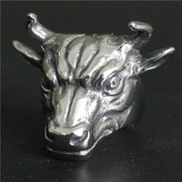 american bulls - Popular Ring L Stainless Steel Jewelry Ring Cool Mens Biker Bull Ring Sharp Horn Ring