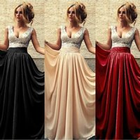 Wholesale Silver Sequined Long Prom Dresses with A Line Chiffon Skirt Champagne Black Wine Red Ziper Back Simple Evening Bridesmaid Real Photos
