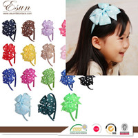 baby rib fabric - Europe and the explosion of V word baby rib Ribbon Bow Hair Barrette children headdress color spot