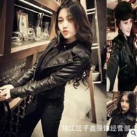 Wholesale Women Korean Black Leather Jacket Spring Autumn New PU Slim Skinny Motorcycle Jacket Big Size Fashion Soft Leather