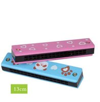 Wholesale Children can play double wooden painted harmonica creative enlightenment educational toys musical instrument parent child teaching aids