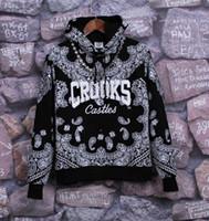 bandana hoodie - Hot Sales Winter Fleece Black Bandana Hoodies Crooks and Castles Hoodies Hip Hop Sweatshirts for Men Sportswear Harajuku Sudaderas Hombre