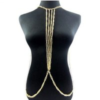 bahamas gifts - M188 Bahamas beauty Golden BODY CHAIN NECKLACE Exquisite Necklaces for women Beach BIKINI fashion lady body chains Highlights body chains