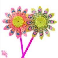 Wholesale fashion plastic sunflower windmill Colorful Flower windmills Funny Kids toys