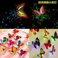 Luz de la noche de la mariposa del LED Shinning Stick-On lámpara 3W Fibra óptica de la pared de la mariposa luces de la noche para Navidad Decoraciones del día de San Valentín