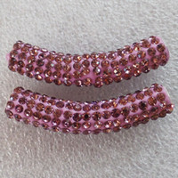 El Rhinestone cristalino curvado libre del tubo del envío 5Pcs 47x10m m pavimenta el ajuste rosado de la joyería de Diy de los granos del conectador de la pulsera
