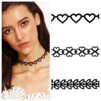 Wholesale Flower Clover Heart Pattern Vintage Chic Choker Necklace Colar Jewelry Chocker Necklace Women