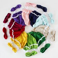 Summer ear covers - INS HOT Cotton girls clothes Girls lace ruffles romper headband bunny ear headwrap piece set Summer romper onesies diaper covers bloomers