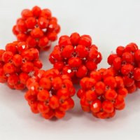 Wholesale 2016 new design DIY necklace set coral red Glass Crystal Beads fit Ball Jewelry Design Wedding Beads Jewelry Making Accessory