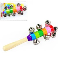 Wholesale Jingle Ring Bell Colorful Rainbow Baby Rattle Wooden Hand held Baby Educational Sound Toys in a set