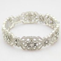 art deco bangles - Art Deco s Great Gatsby Flower Austria Crystal Bridal Cuff Bracelet Bangle Jewelry