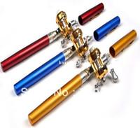 Wholesale Portable Pocket Telescopic Mini Fishing Pole Aluminum Alloy Pen Shape Fishing Rod With Reel Wheel Fish Kits