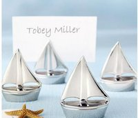beach place card holder - Silver Sailboat Place Card Holders with matching card For Beach Wedding and Party decorations EXPRESS