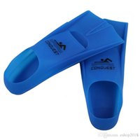 Wholesale Swimming Fins Diving Flippers for adult and children Silicone Fit blue yellow color with gifts